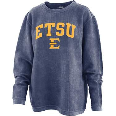 Three Square Women's East Tennessee State University Arch Comfy Cord Crew Sweatshirt