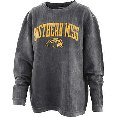 Three Square Women's University of Southern Mississippi Arch Comfy Cord Crew Sweatshirt