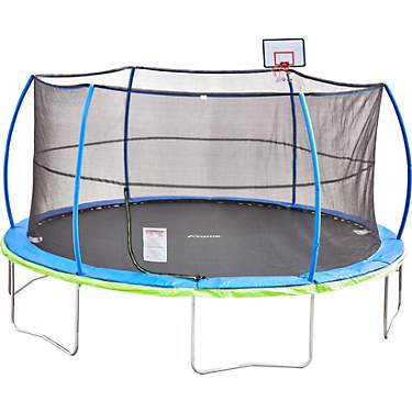 AGame 15 ft Round Trampoline and Enclosure Combo with Basketball Goal