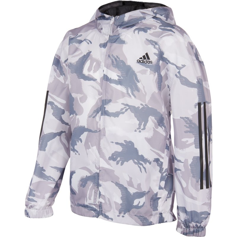 Adidas Boys' Camo Print Wind Jacket White/Gray, X-Large - Boy's Fleece at Academy Sports thumbnail