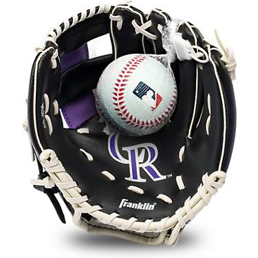 Franklin Youth MLB Colorado Rockies T-ball Glove and Ball Set