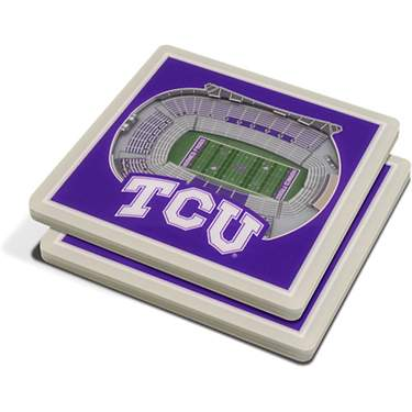 YouTheFan Texas Christian University 3-D Stadium Views 2-Piece Coaster Set