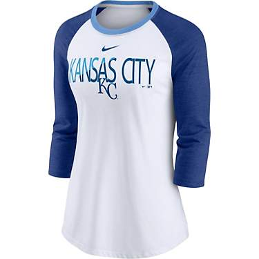 Nike Women's Kansas City Royals Color Split Triblend Raglan 3/4 Sleeve T-Shirt