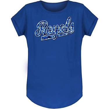 New Era Girls' Kansas City Royals Crew Flip Sequins Short Sleeve T-shirt
