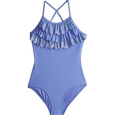 O'Rageous Girls' Glitter Scales Scalloped 1-Piece Swimsuit