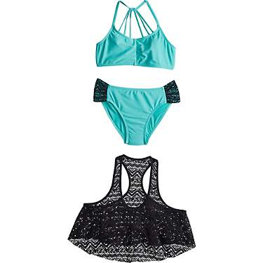 O'Rageous Girls' Chevron Crochet 2-Piece Swimsuit Set