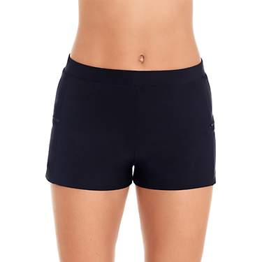 Coastal Cove Women's Solid Double Side Zipper Pocket Swim Shorts