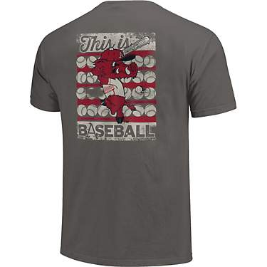 Image One Men's University of Arkansas Comfort Color Bats & Balls Stripes Short Sleeve T-shirt