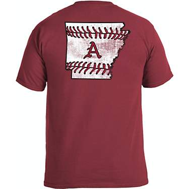Image One Men's University of Arkansas Comfort Color State Baseball Laces Short Sleeve T-shirt