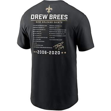Nike Men's New Orleans Saints Drew Brees Dri-FIT Retirement Stats Graphic T-shirt