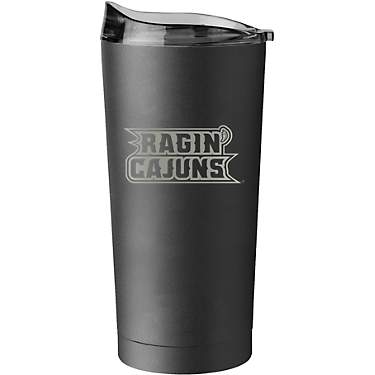 Logo University of Louisiana at Lafayette 20 oz Gunmetal Black Powder Coat Tumbler
