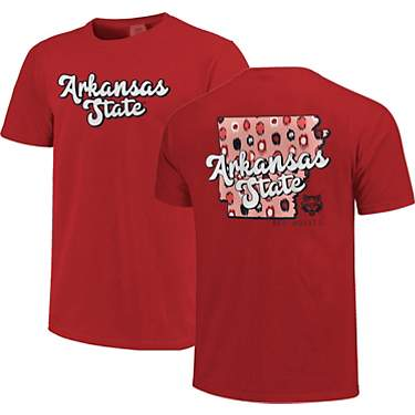 Image One Women's Arkansas State University Comfort Color Retro Script State Pattern Short Sleeves T-shirt