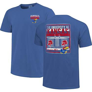Image One Men's University of Kansas Comfort Color Building Type & Stripes T-shirt