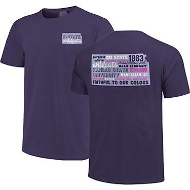 Image One Women's Kansas State University Comfort Color All Type State Short Sleeve T-shirt