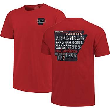 Image One Women's Arkansas State University Comfort Color All Type State Short Sleeve T-shirt