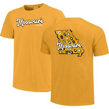 Image One Women's University of Missouri Comfort Color Retro Script State Pattern Short Sleeve T-shirt