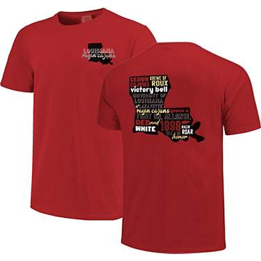 Image One Women's University of Louisiana at Lafayette Comfort Color All Type State Short Sleeve T-shirt