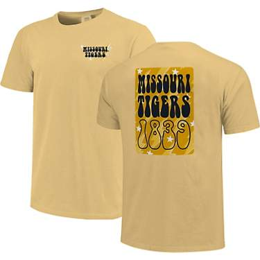 Image One Women's University of Missouri Comfort Color Groovy Overlay Short Sleeve T-shirt