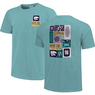 Image One Women's Kansas State University Comfort Color Spring Blocks Short Sleeve T-shirt
