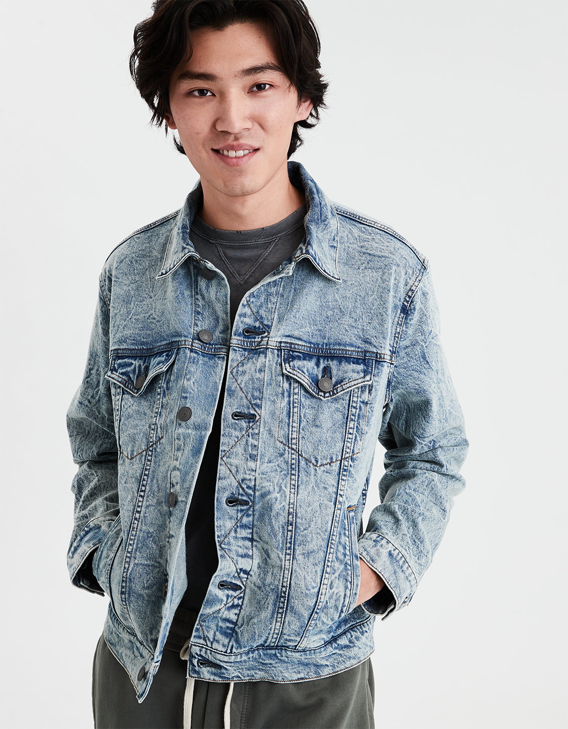 44e8957123 AE Acid Wash Denim Jacket. Placeholder image. Product Image