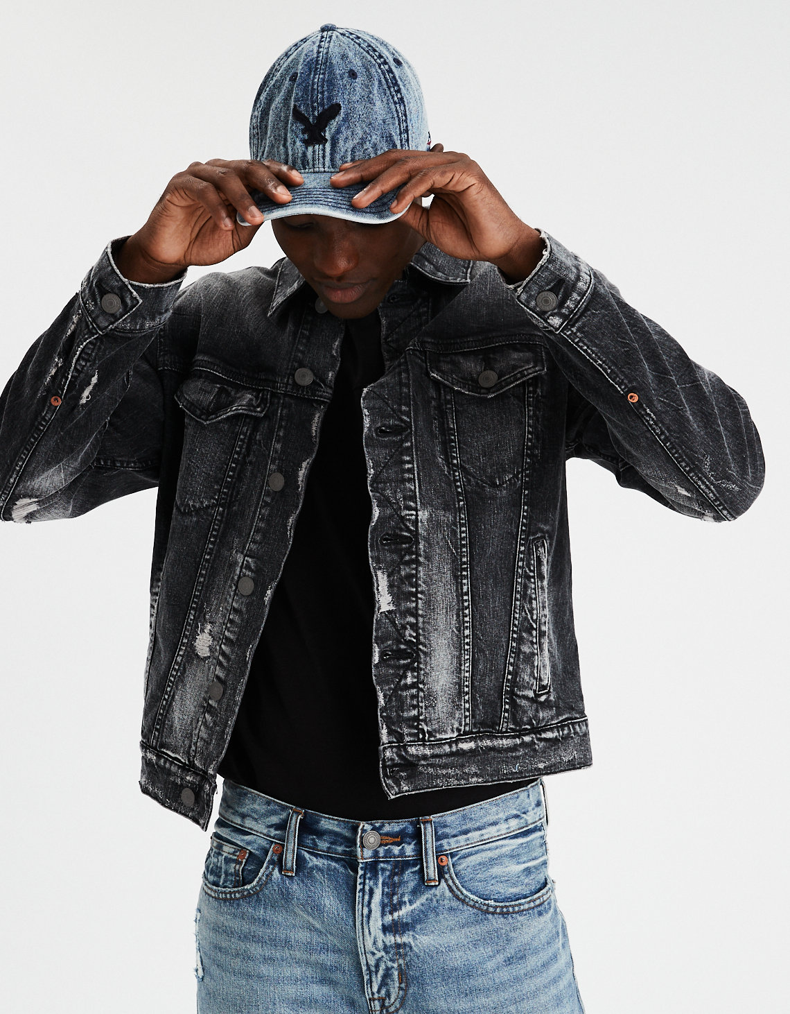 b4f508d700 AE Destroyed Black Denim Jacket. Placeholder image. Product Image