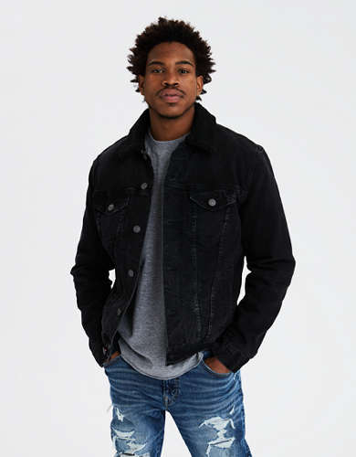 AE Black Sherpa Denim Jacket