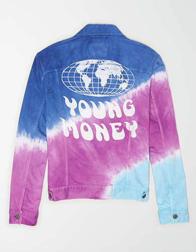 AE X Young Money Tie Dye Denim Jacket
