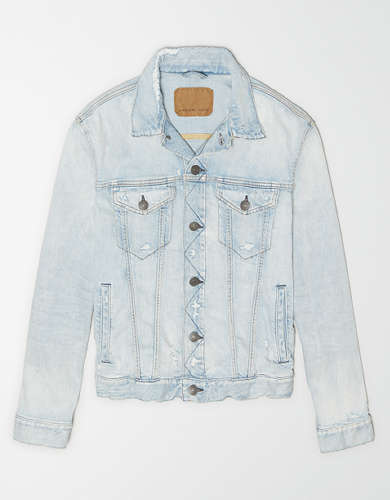 AE Destroyed Light Wash Denim Jacket