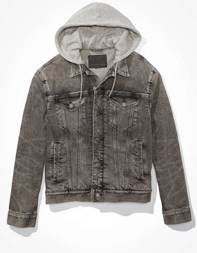 AE Grey Hooded Denim Jacket
