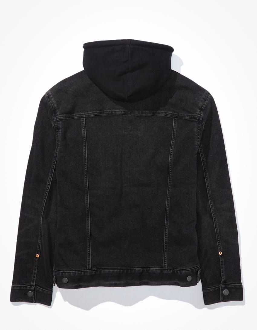 AE Hooded Black Wash Denim Jacket