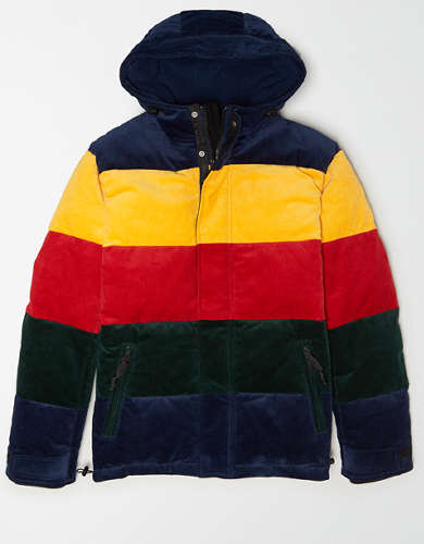 AE Colorblock Corduroy Puffer Jacket