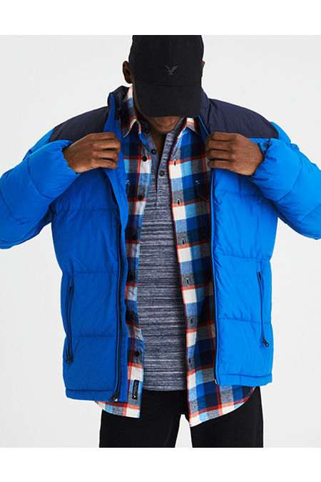 AE Colorblock Mock Neck Puffer Jacket