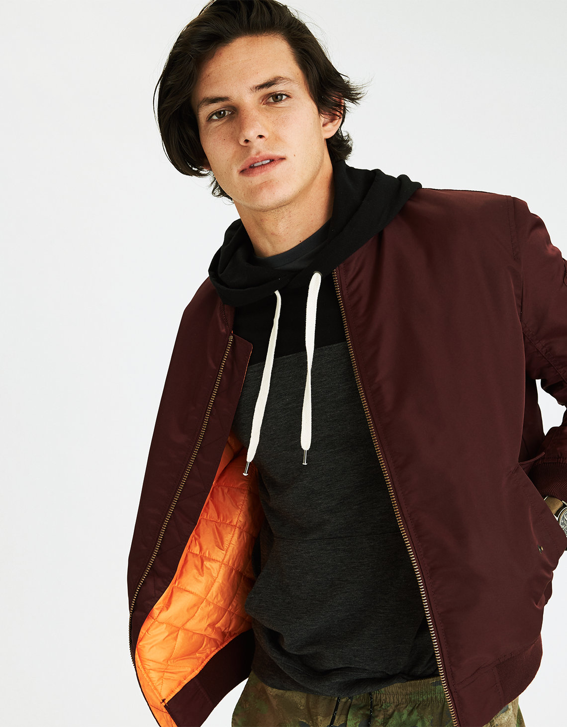 AEO Quilted Bomber Jacket, Burgundy | American Eagle Outfitters