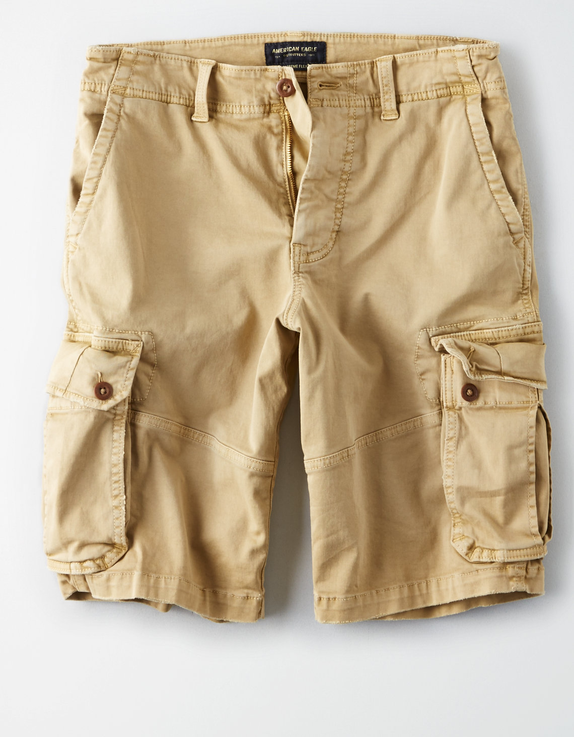 ae extreme flex longer length cargo short vintage khaki