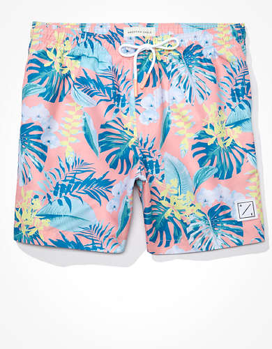 "AE 6"" Tropical Print Swim Trunk"
