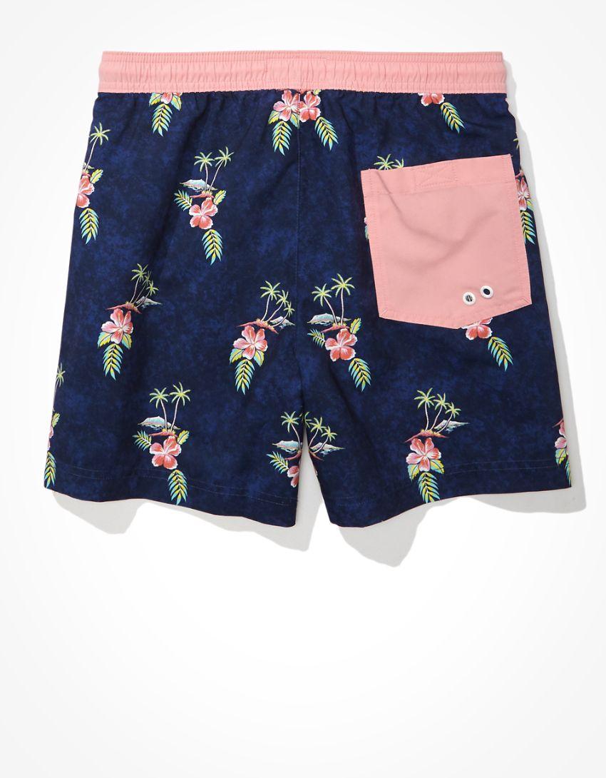 "AE 5"" Tropical Floral Swim Trunk"