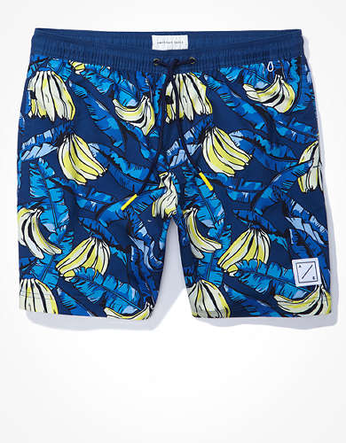 "AE 7"" Banana Print Swim Trunk"
