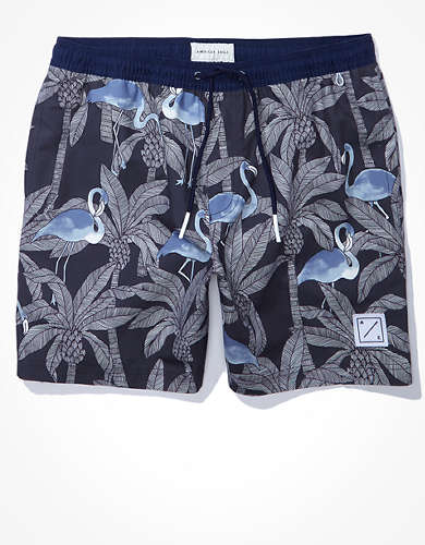 "AE 7"" Flamingo Print Swim Trunk"