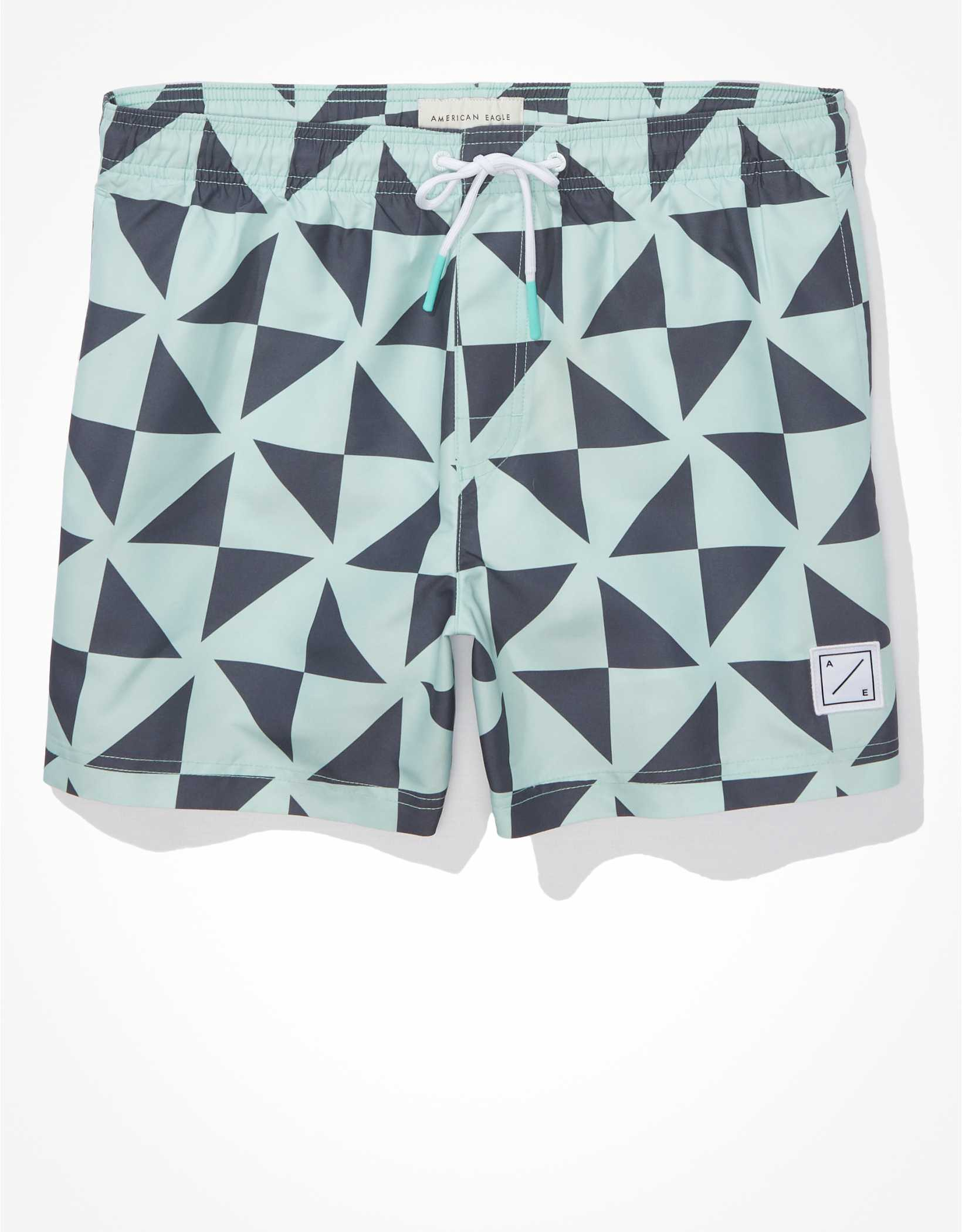 .97 AE 5″ Geo Swim Trunk + Free shipping over  at American Eagle!