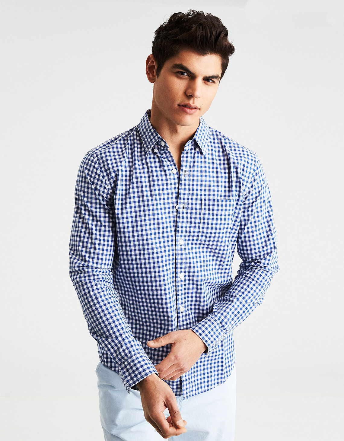 AE CLASSIC PLAID BUTTON-DOWN POPLIN SHIRT. Placeholder image. Product Image