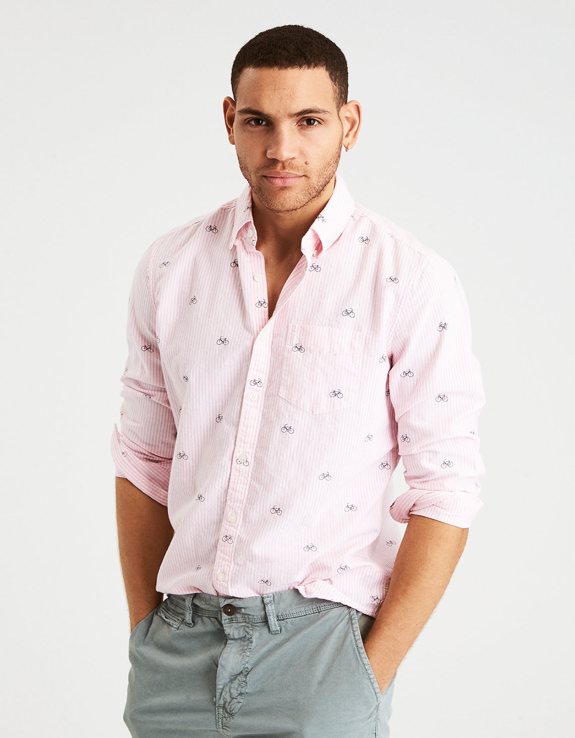 AE CLASSIC OXFORD BUTTON DOWN SHIRT, Pink | American Eagle Outfitters