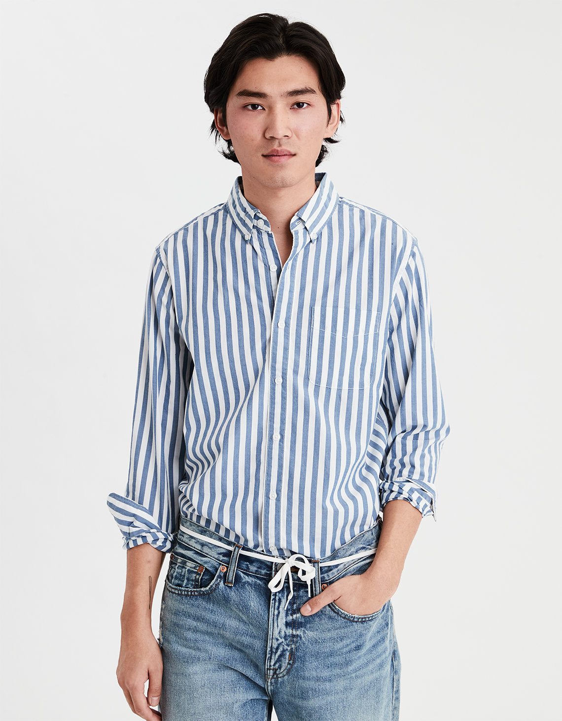 584ff038de895 AE Long Sleeve Button Down Shirt. Placeholder image. Product Image