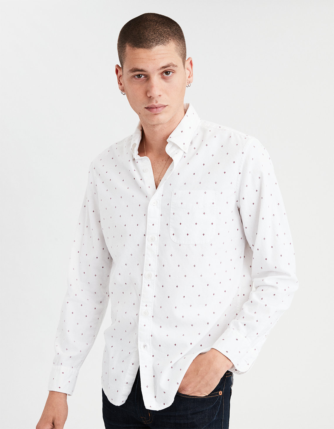 Ae Printed Oxford Button Down Shirt White American Eagle Outfitters