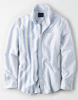 AE Long Sleeve Color Block Oxford Button Up Shirt
