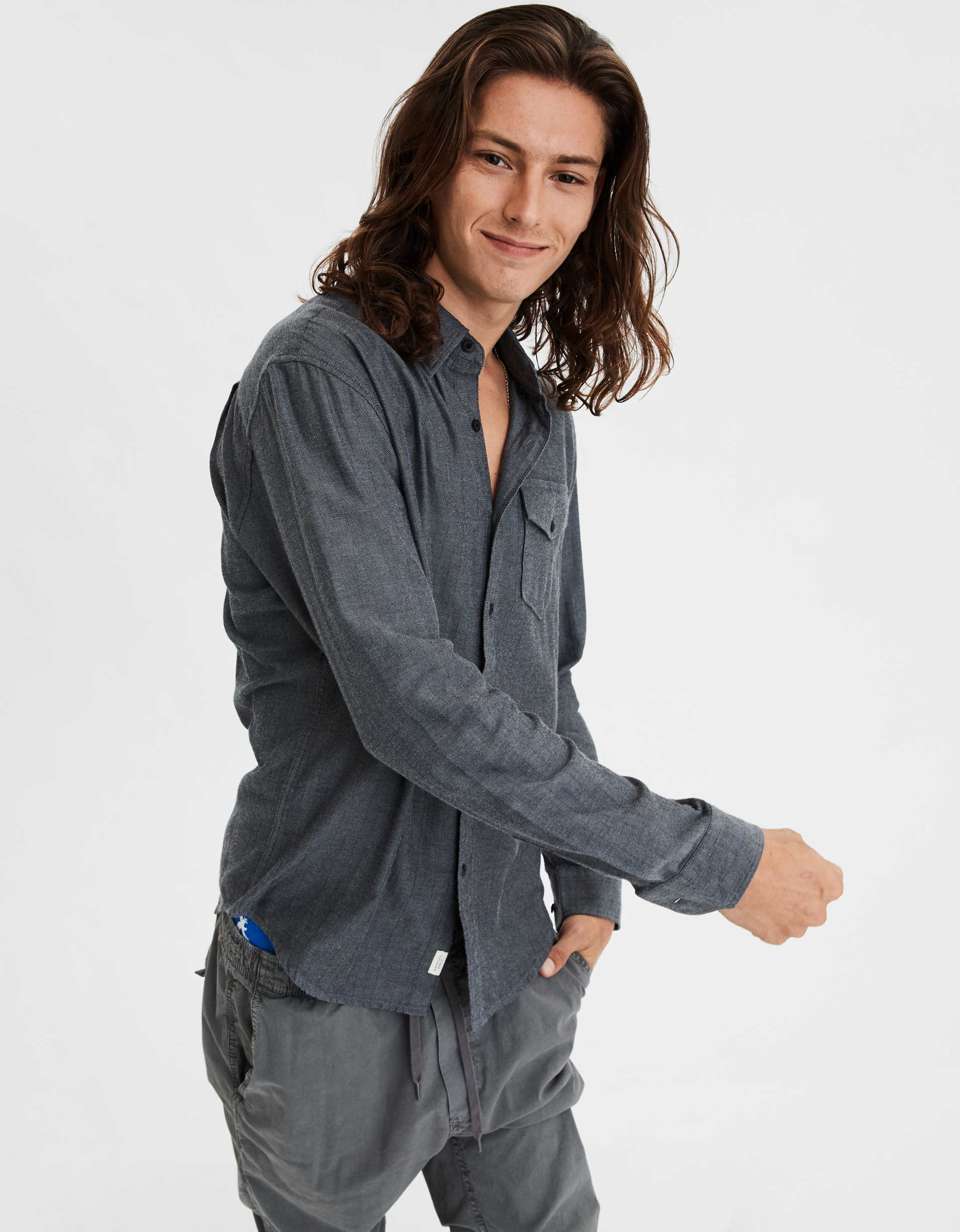 AE Brushed Twill Herringbone Button Up Shirt