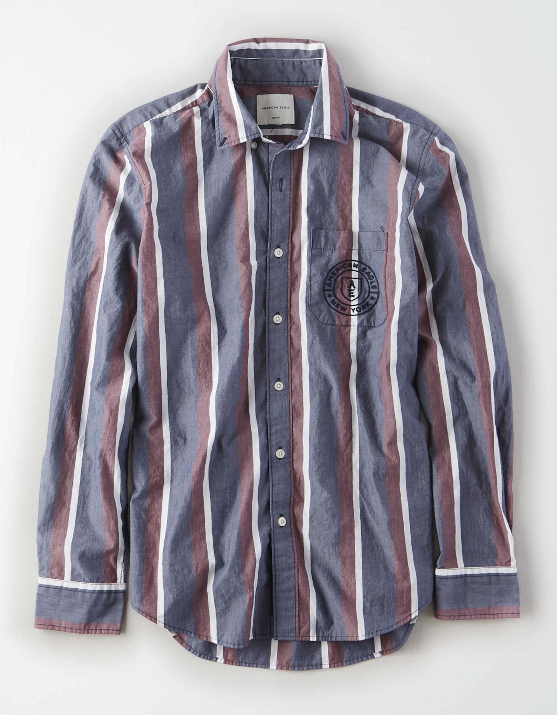 AE Poplin Striped Button Up Shirt