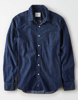 AE Denim Dot Button Up Shirt
