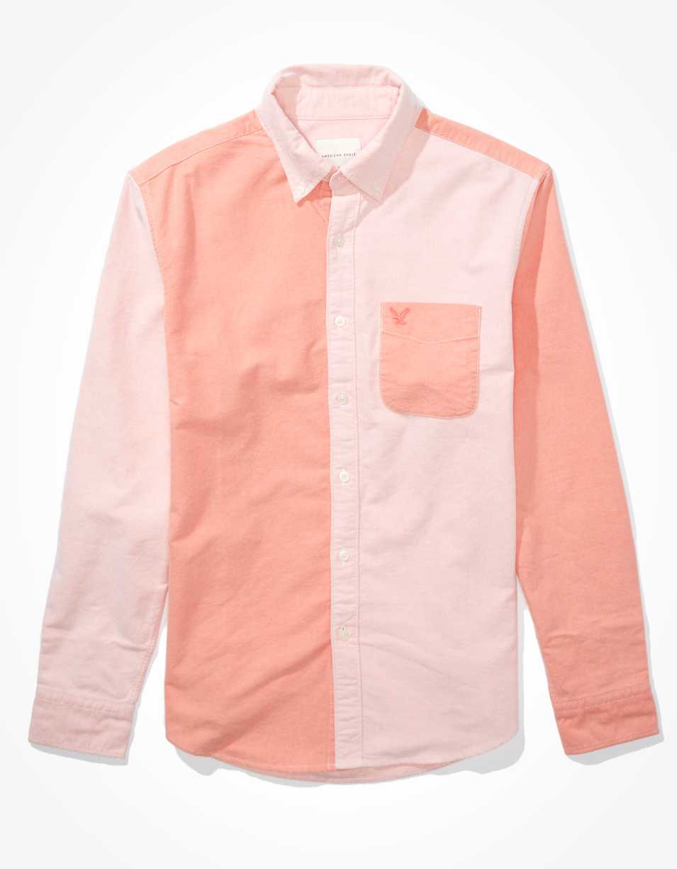 AE Oxford Color Block Button Up Shirt