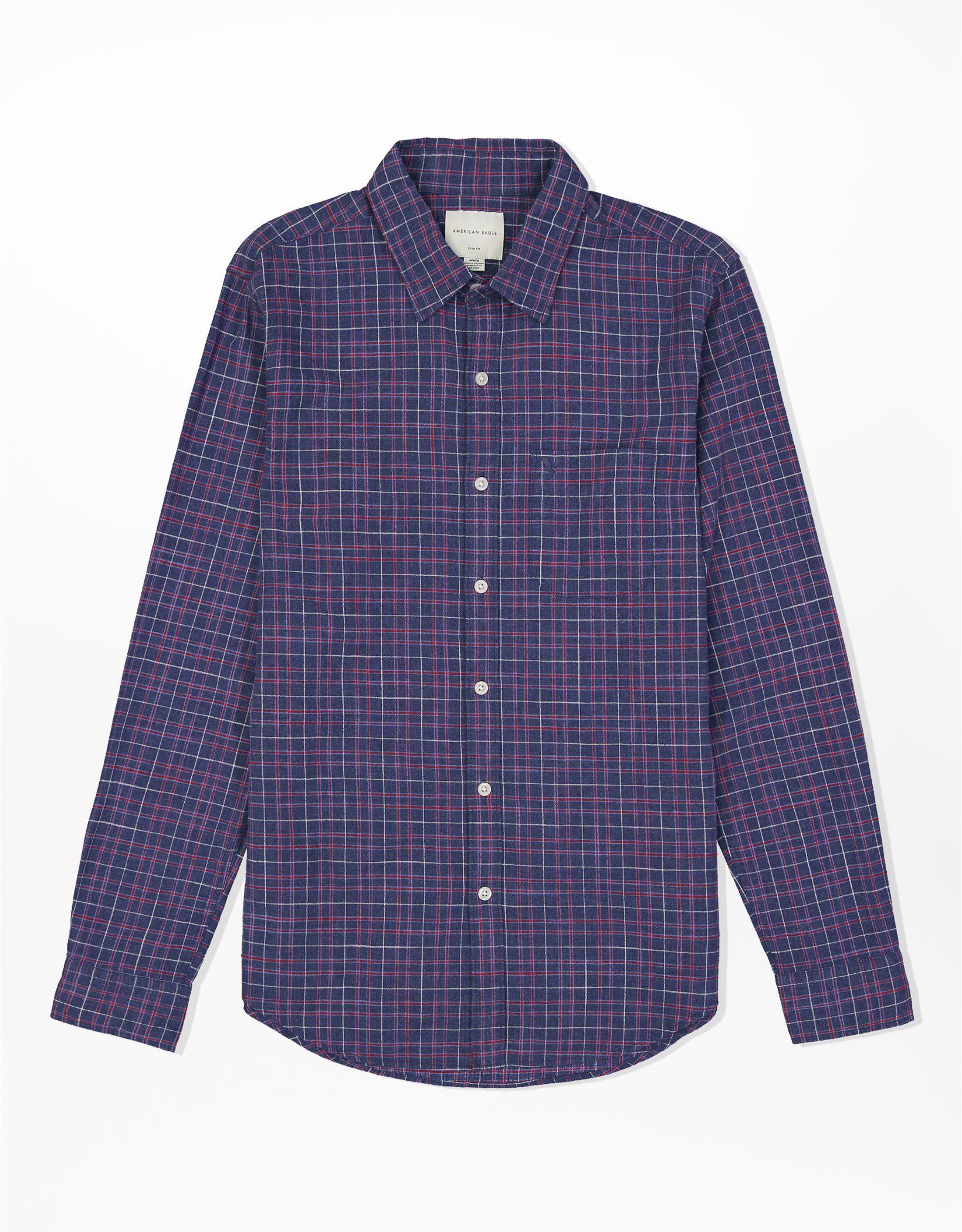 AE Plaid Slim Fit Button-Up Shirt