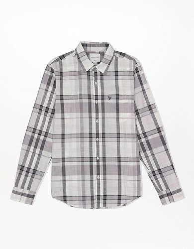 חולצה מכופתרת משבצות Slim Fit AE